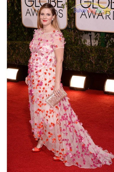 A várandós Drew Barrymore a Golden Globe-on