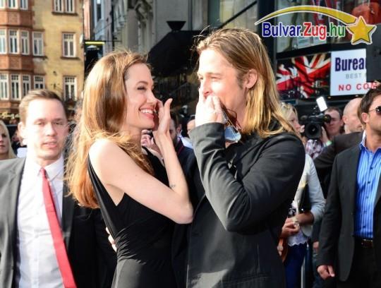 Angelina Jolie és Brad Pitt egy filmbemutatón
