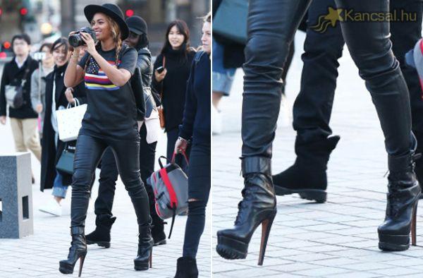 Beyoncé tűsarkúban indult várostnézni