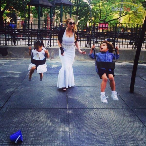 Estélyiben vitte a játszótérre gyerekeit Mariah Carey