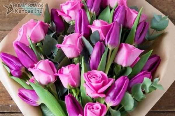 Rózsa és tulipán csokor