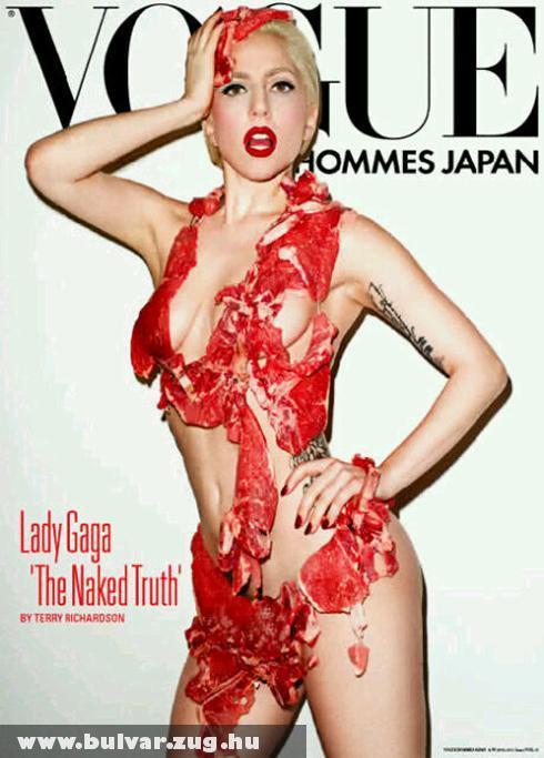 Lady Gaga meztelenül, hússal borítva